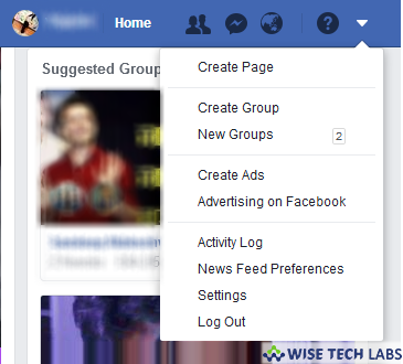 Click Settings from drop down menu of Facebook
