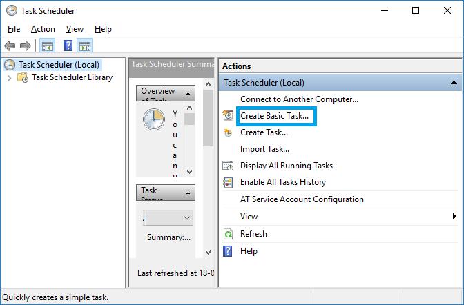automatic shutdown windows 10 task scheduler