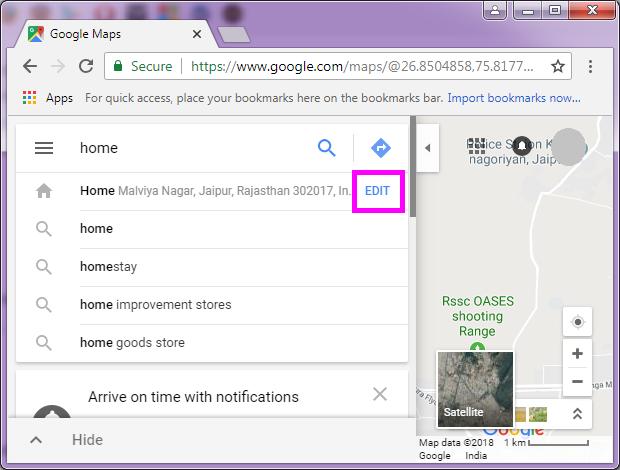 on change home google maps