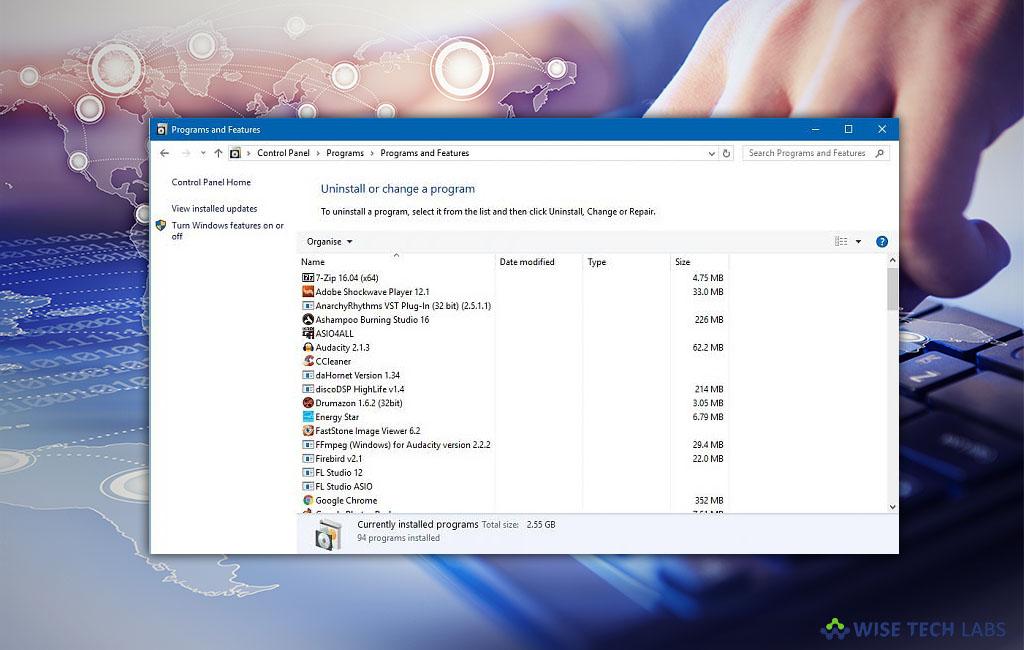 windows 10 remove programs