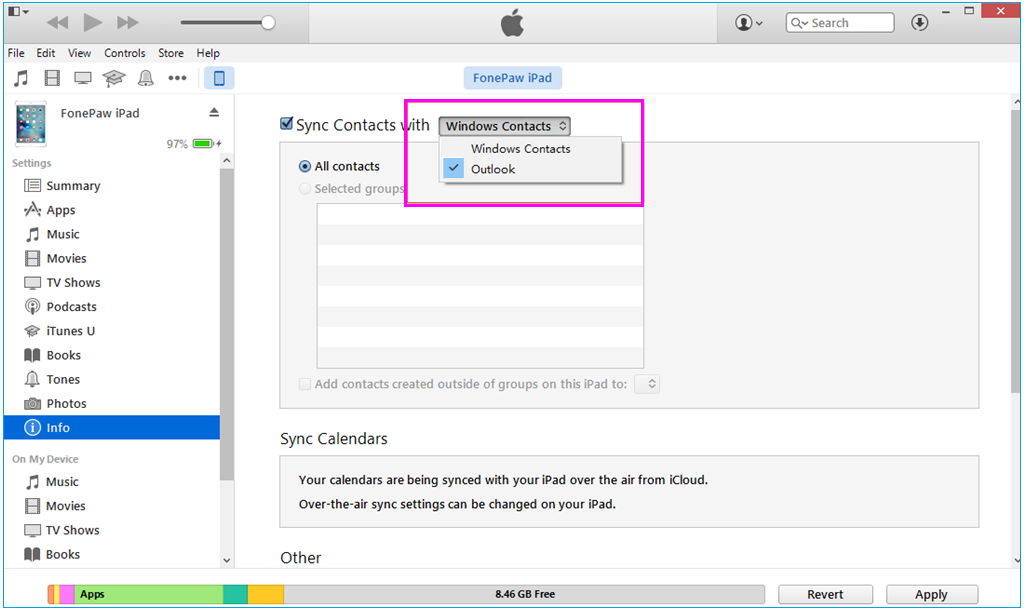 sync-contacts-itunes-wise-tech-labs
