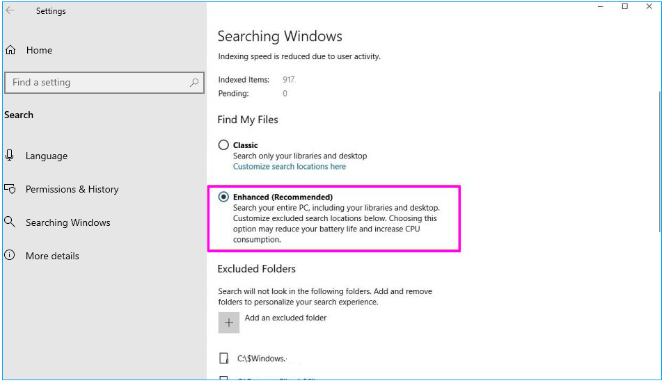 How to enable enhanced search mode on your Windows 10 PC