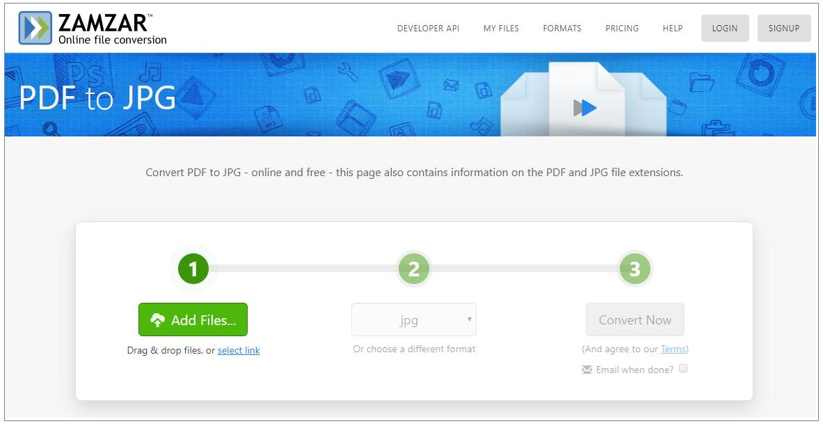 Zamzar PDF To JPG Converter